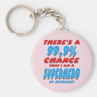 Porte-clés 99,9% Je suis un SUPER HÉROS (le noir)