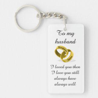 Porte-clés À mon mari - noms gravés - poème + Je t'aime