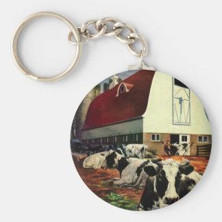 Porte-clés Affaires vintages, vaches à lait du Holstein à