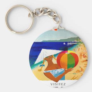 Porte-clés Affiche 1957 de voyage de Français de Cote d'Azur