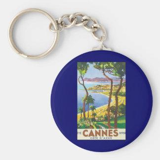 Porte-clés Affiche vintage de voyage, plage à Cannes, France