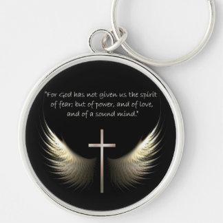 Porte-clés Ailes de Saint-Esprit avec le vers de croix et