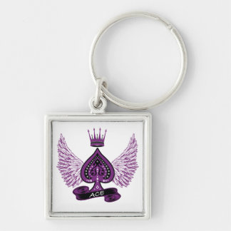 Porte-clés Ailes et couronne asexuelles de fierté de l'as