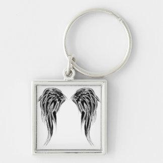Porte-clés Ailes noires et blanches fraîches d'ange