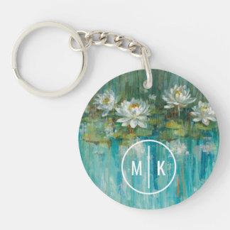 Porte-clés Ajoutez votre étang de nénuphar du monogramme |