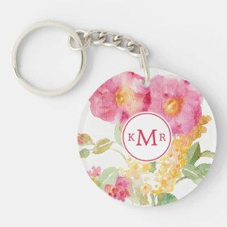 Porte-clés Ajoutez votre marguerite blanche du monogramme |