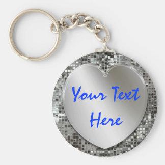 Porte-clés Ajoutez votre porte - clé de coeur d'argent des