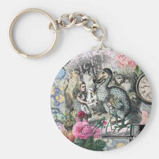 Porte-clés Alice en collage vintage de dronte du pays des