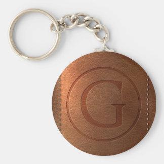 Porte-clés alphabet cuir lettre G