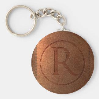 Porte-clés alphabet cuir lettre R
