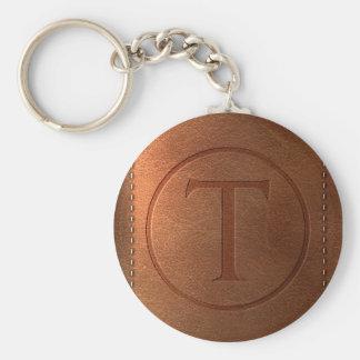 Porte-clés alphabet cuir lettre T