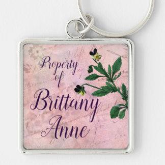 Porte-clés Alto vintage botanique rose poussiéreux