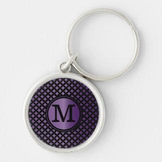 Porte-clés Améthyste de Faux et monogramme chic noir