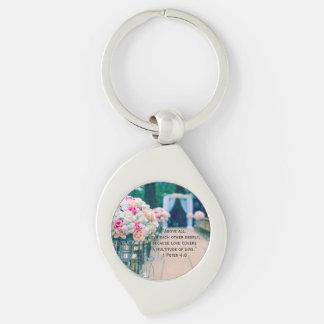 Porte-clés Amour de bouquet de fleur et vers de bible de