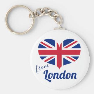 Porte-clés Amour de drapeau BRITANNIQUE en forme de coeur