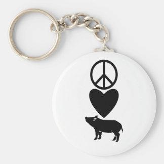 Porte-clés Amour de paix et porte - clé de porcs
