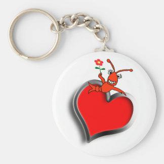 Porte-clés Amour mignon de coeur d'écrevisses (homard)