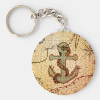 Porte-clés Ancre nautique antique affligée de cru de carte
