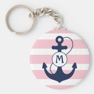 Porte-clés Ancre nautique avec les rayures et le monogramme