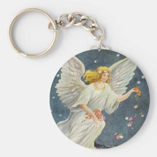 Porte-clés Ange victorien de Noël vintage avec des roses
