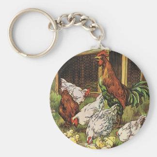 Porte-clés Animaux de ferme vintages, coq, poules, poulets