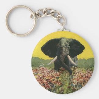 Porte-clés Animaux sauvages vintages, éléphant africain de