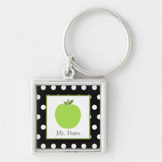 Porte-clés Apple vert/noir avec le pois blanc