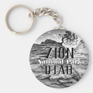 Porte-clés Arbre de bonsaïs de parc national de Zion noir et
