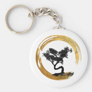 Porte-clés Arbre de bonsaïs. Zen Enso Circl. Calligraphie de