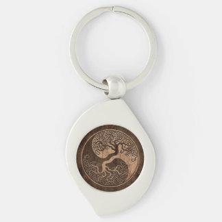 Porte-clés Arbre de la vie Yin Yang avec l'effet en bois de