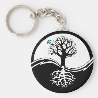 Porte-clés Arbre de Yin Yang de noir et de blanc de la vie