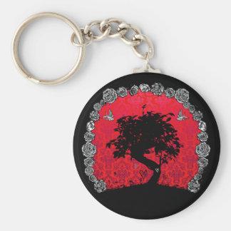 Porte-clés Arbre rose de bonsaïs de tatouage d'hirondelle