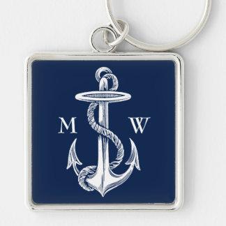 Porte-clés Arrière - plan blanc vintage de bleu marine de