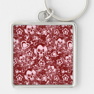 Porte-clés arrière - plan de crâne d'emo