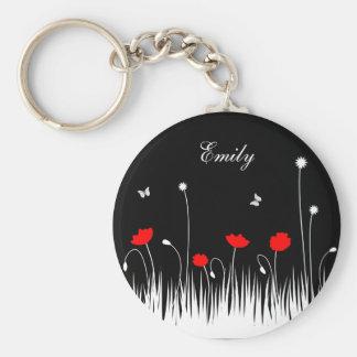 Porte-clés Arrière - plan noir de pavots rouges