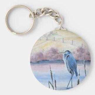 Porte-clés Art acrylique en pastel caché de héron bleu de