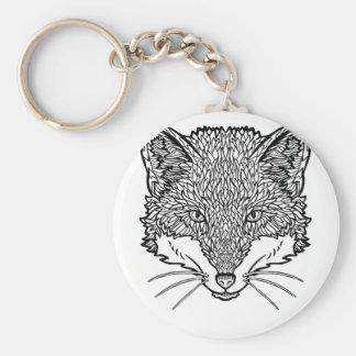 Porte-clés Art de Fox-Tatouage - illustration au trait noir