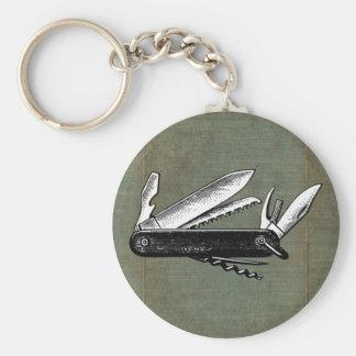 Porte-clés Art vintage de couteau de poche