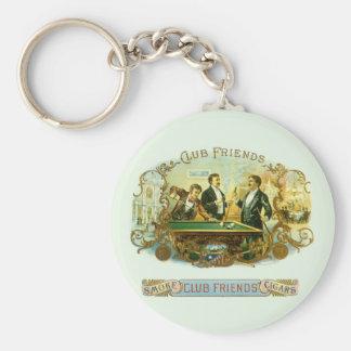 Porte-clés Art vintage d'étiquette de cigare, billards d'amis