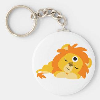 Porte-clés attentif mignon de lion de bande