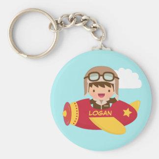 Porte-clés Aventure mignonne d'avion de garçon d'aviateur