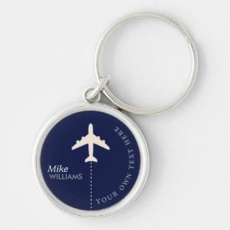 Porte-clés avion sur le porte - clé bleu avec le nom