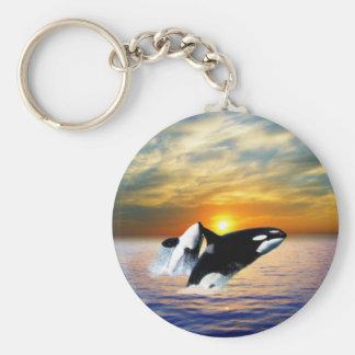 Porte-clés Baleines au coucher du soleil