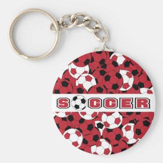 Porte-clés Ballon de football rouge foncé, noir et blanc