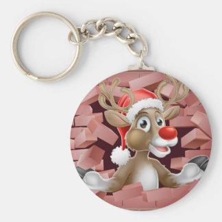 Porte-clés Bande dessinée de renne de casquette de Père Noël