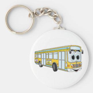 Porte-clés Bande dessinée jaune d'autobus de ville