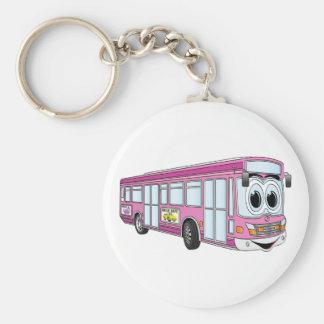 Porte-clés Bande dessinée rose d'autobus de ville