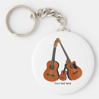 Porte-clés Basse acoustique et ukulélé de guitare classique