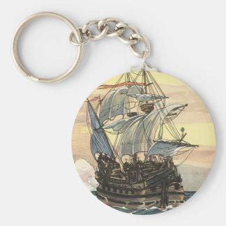 Porte-clés Bateau de pirate vintage, navigation de galion sur