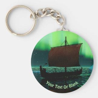 Porte-clés Bateau de Viking et lumières du nord